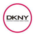 DKNY logo in red circle