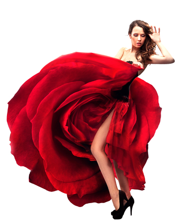 Model in Rose Flamenco dress